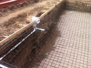 Steel frame of entire pool made with rebar.